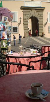 Espresso outside papal palace at Castelgandolfo. Sept 2008