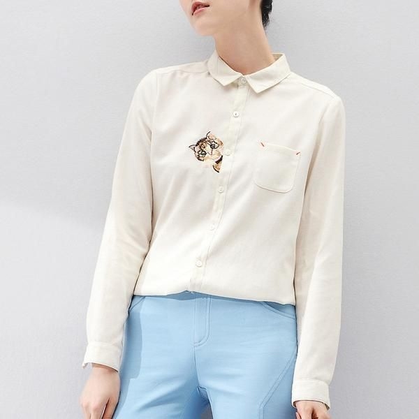 Long Sleeve Women Cartoon Cat Embroidery Shirt | Turn-Down Collar Shirt