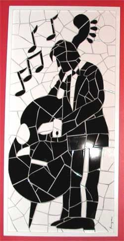 Good example of a black & white mosaic with white grout - Freddy Boragina
