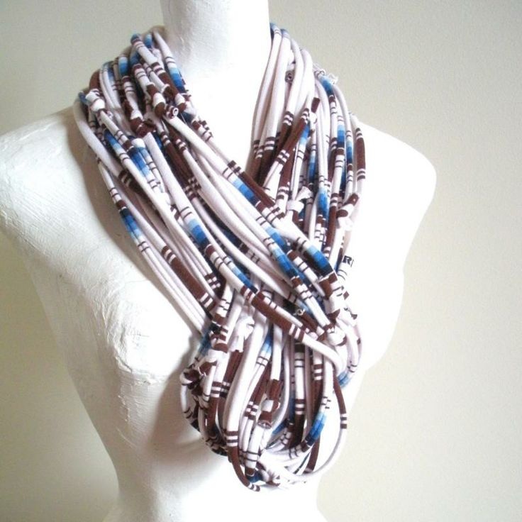 southwestern scarves for women | Southwestern White Infinity Scarf Mykonos Blue Carafe Brown Stripes ...