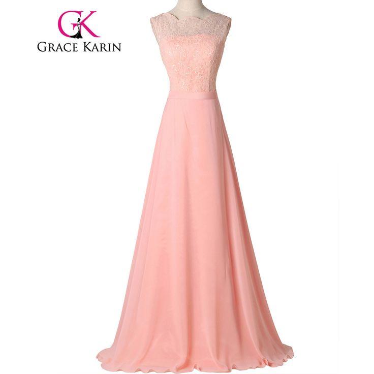 Grace Karin Beautiful Long Light Pink Chiffon Prom Dresses Formal Gown Elegant Dinner Dress galajurken 2017 GK7537