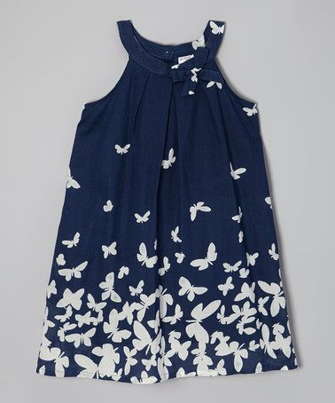 Look at this #zulilyfind! Navy & White Butterfly Yoke Dress - Toddler & Girls by Yo Baby #zulily #ad *pretty