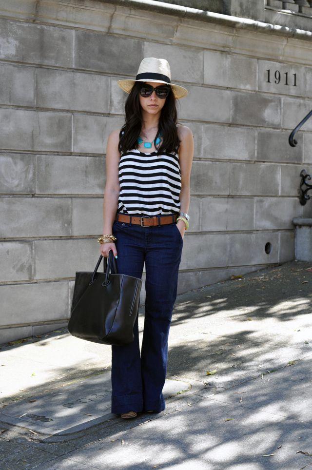 stripe, tan & dark jeans