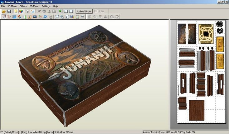 Paper Model of Jumani Game (movie version). Can be made miniature for dollhouse too!
