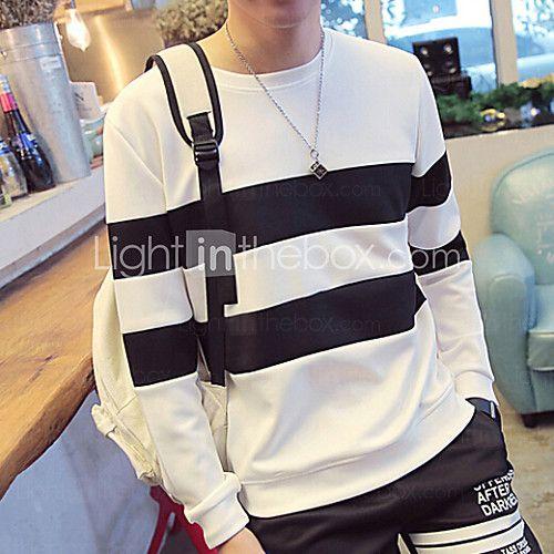 Masculino Camiseta Poliéster Listrado Manga Comprida Casual-Preto / Branco de 2016 por R$43.91