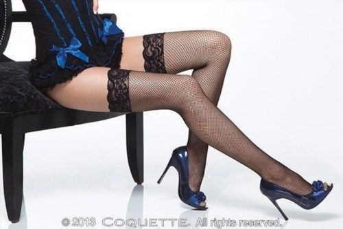 8.99$  Buy here - http://vihma.justgood.pw/vig/item.php?t=99fb1y24721 - Fishnet thigh high stockings with lace trim top from Coquette Lingerie. 8.99$