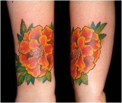 10 Artistic Flower Tattoo Designs - marigold