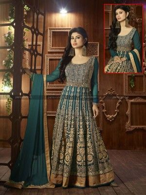 Teal Semi Georgette Elegant Anarkali Salwar Suit