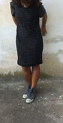 Tubino Malibù gessato eco pelle nero moda  vestito abito donna elegante sera top