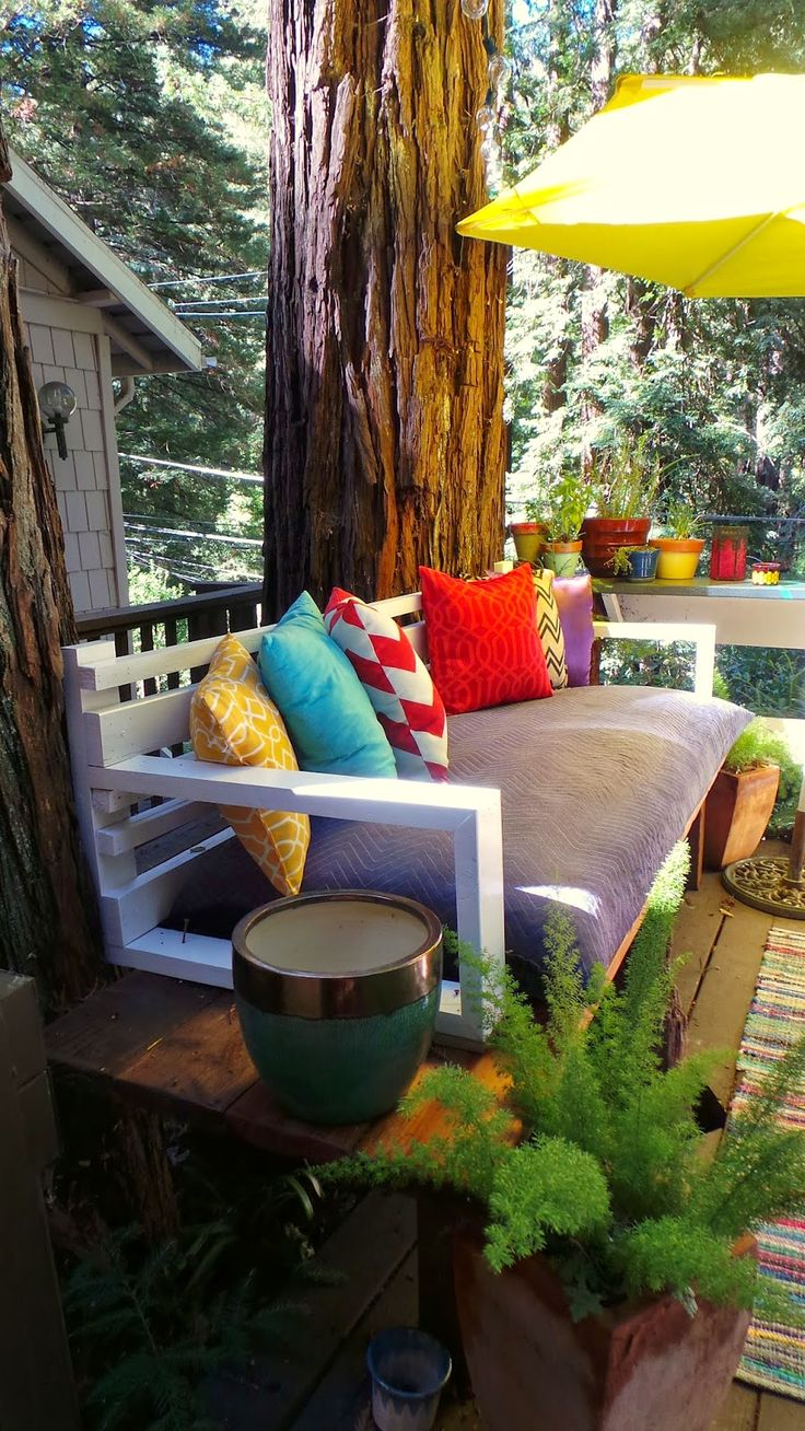 Backyard Patio: Tree stump to Day Bed from Nine Red