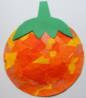 Paper Plate Pumpkin. I watered down glue in a bowl and painted the plate while the kids were ripping paper. Once paper was stuck I painted another layer of glue over top of paper. Turned out great. Might try small plates next time.
