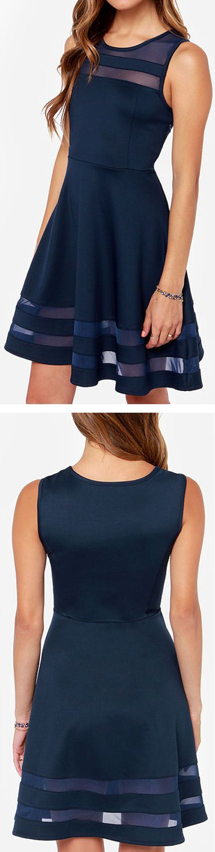 Sheer Navy Stripe Skater Dress ❤︎