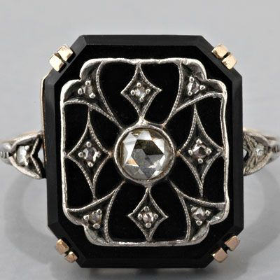 Antique Victorian Dutch Rose-Cut Diamond and Black Onyx Ring