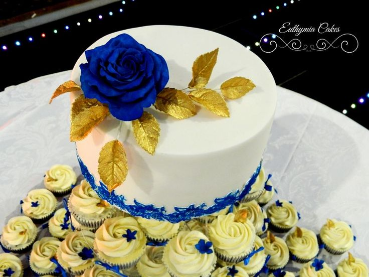 Beautiful White And Royal Blue Wedding Cake Mini Cupcake Tower With Edible Lace