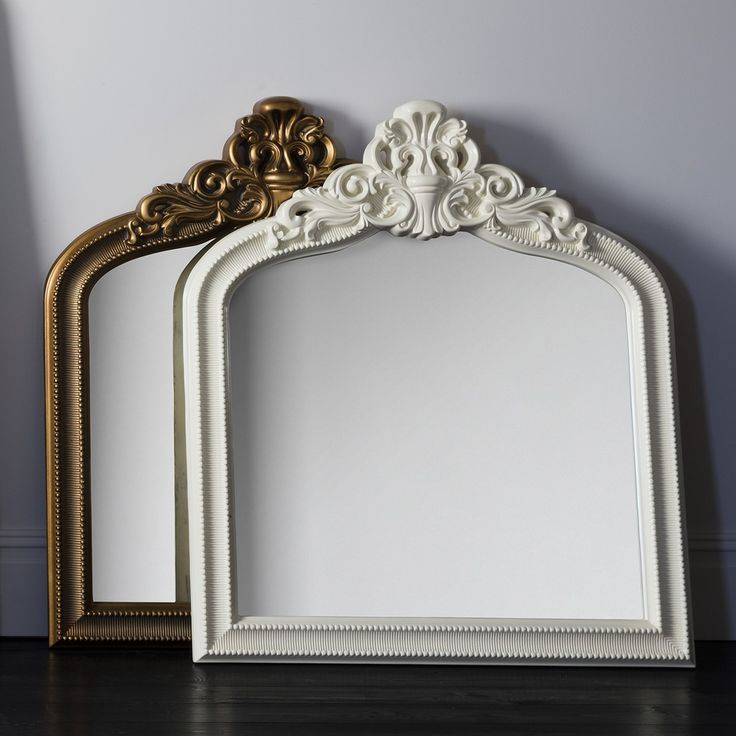 Victory Crested Overmantle Mirror Matt Cream Living Room