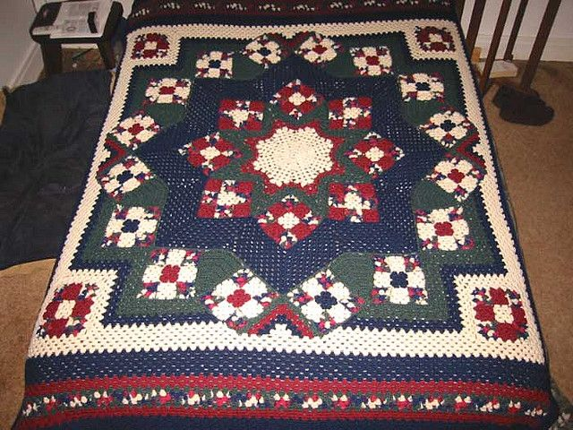 Free Amazing Star Crochet Pattern : 17 Best images about Blue star crocheted afghan on ...