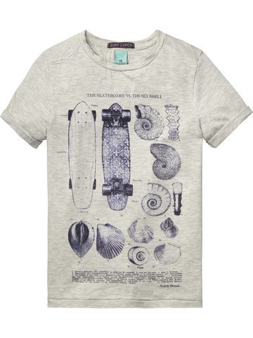 Skater and Seashells Tee in Denim Inspired Print