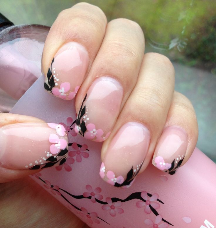 Cherry blossom nails for spring (my nails)
