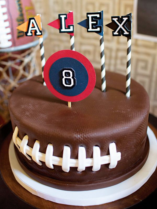 Football imprinted birthday cake