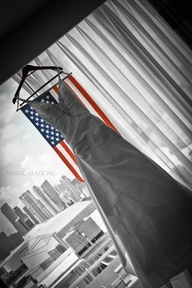 Wedding dress and American flag. Love it.
