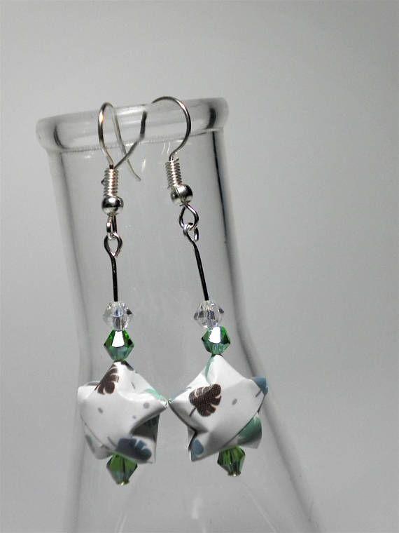 Origami Lucky Stars Patterned Sterling Silver Dangle Earrings