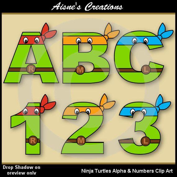 Las tortugas ninja letras del alfabeto y números Clip arte