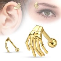 Wenkbrauw piercing skellet hand gold plated