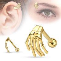 Wenkbrauw piercing skellet hand gold plated