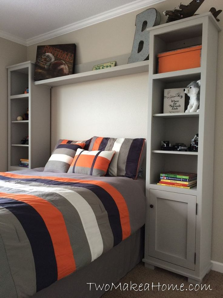 gray white black and orange teen boyu0027s room