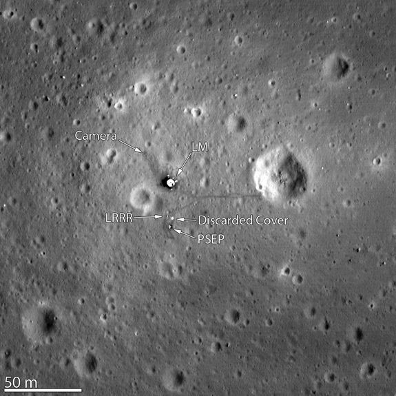 Apollo 11 Moon Landing Site Seen by Lunar Reconnaissance OrbiterCredit: NASA/GSFC/Arizona State UniversityThe Lunar Reconnaissance Orbiter Camera snapped its best look yet of the Apollo 11 landing site on the moon. The image, which was released on March 7, 2012, even shows the remnants of Neil Armstrong and Buzz Aldrin's historic first steps on the surface around the Lunar Module