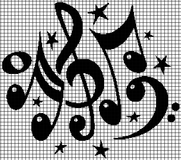 Music Notes (Chart/Graph AND Row-by-Row Written Crochet Instructions) – 02 —…