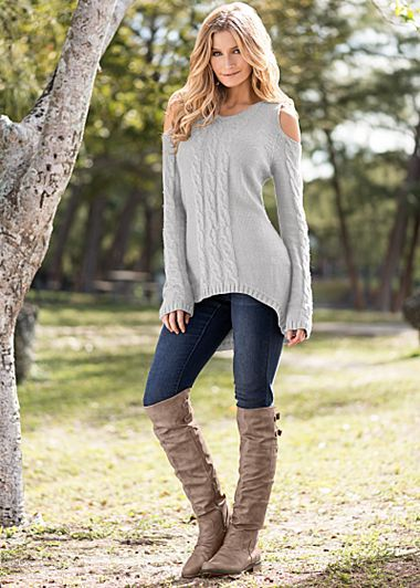 Light Grey Cold shoulder sweater, jeans, boots from VENUS