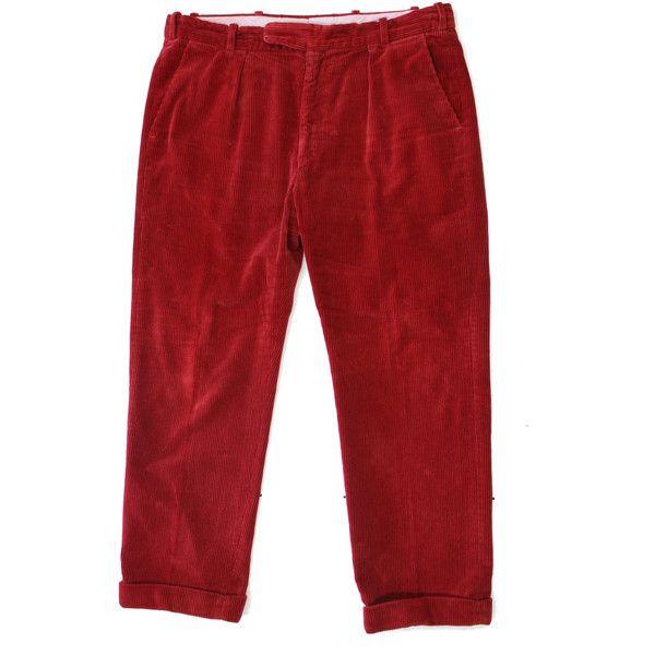 Vintage Quality Corduroy Trousers Retro Cord Pants -Menswear Newmarket... ($45) ❤ liked on Polyvore featuring men's fashion, men's clothing, men's pants, men's casual pants, mens cord pants, vintage mens pants, mens corduroy pants, mens red pants and mens red corduroy pants