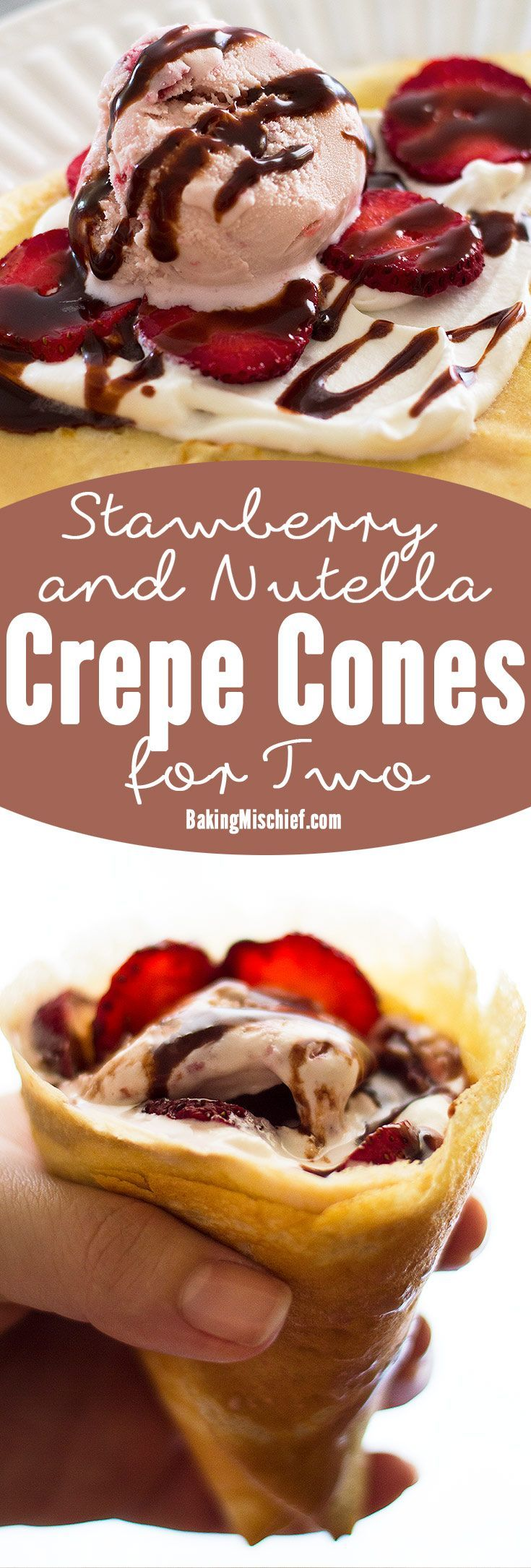 Put leftover crepes to good use and turn them into crepe cones! Perfect for a sunny summer day, these cones are stuffed with strawberry ice cream, fresh strawberries, and whipped cream, and drizzled with a quick and easy Nutella sauce. Recipe includes nutritional information. From http://BakingMischief.com