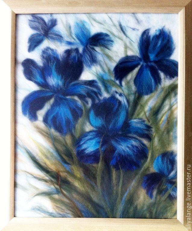 """Купить картина из шерсти """"Ирисы"""" - синий, ирисы, картина с цветами, картина для интерьера, картина из шерсти"""