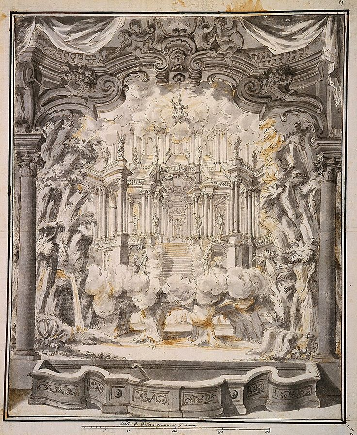 Stage design: Proscenium and Palace Staircase made for  Marie Casimire Sobieska by  Girolamo Fontana, 1700s (PD-art/old), Cooper Hewitt, Smithsonian Design Museum