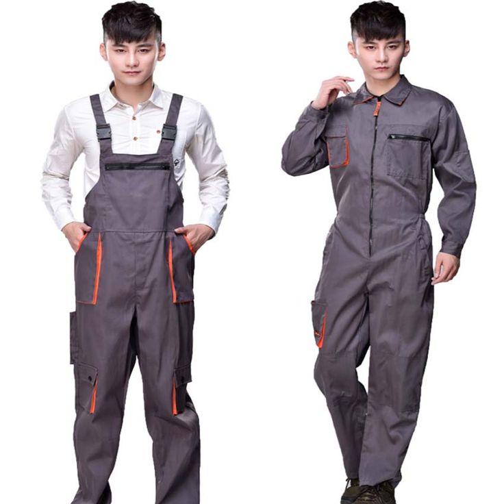 仕事オーバーオール男性女性保護カバーオール修理工ストラップジャンプスーツのズボン作業制服プラスサイズノースリーブカバーオール