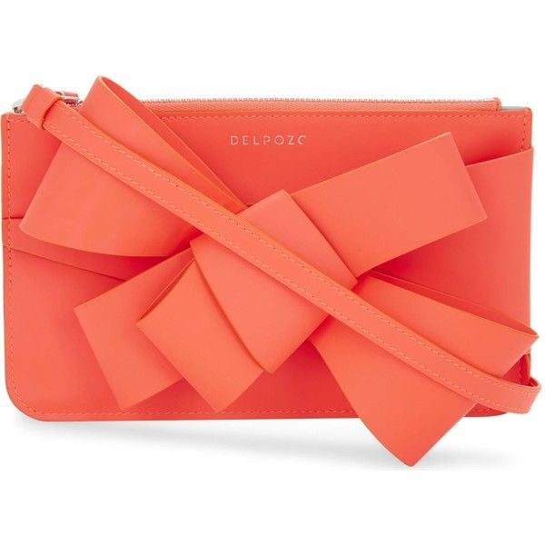 Delpozo Mini Bow neon leather clutch ($495) ❤ liked on Polyvore featuring bags, handbags, clutches, real leather purses, red purse, leather clutches, real leather handbags and mini purse