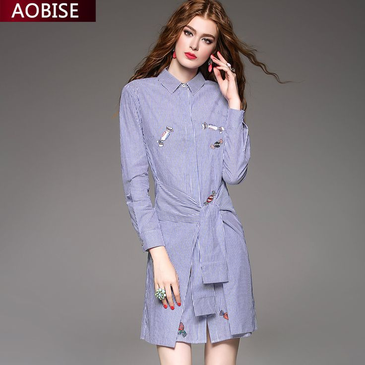 >> Click to Buy << 2016 Early Autumn Season New Long Sleeve Single Row Buckle Shirt  Stripe Stand Lead Dress Waist Embroidery Short #Affiliate