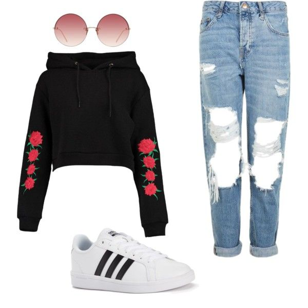 A fashion look from February 2017 featuring Boohoo hoodies, Topshop jeans and adidas sneakers. Browse and shop related looks.