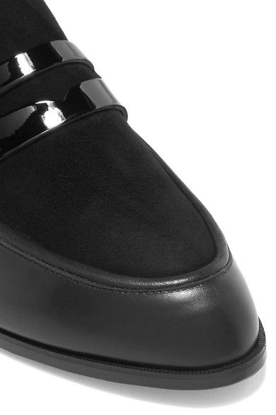 Robert Clergerie - Allan Suede And Patent-paneled Leather Slippers - Black - IT39.5