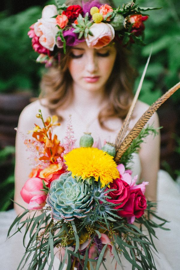 bohemian inspired wedding bouquet and floral crown with feathers - photo by Veronica Varos Photography