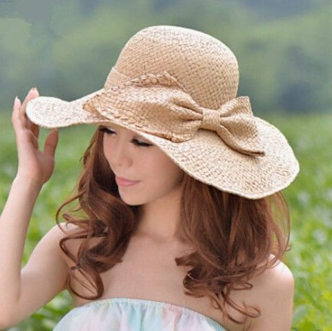 Large bow floppy sun hats for summer ladies package straw hat UV