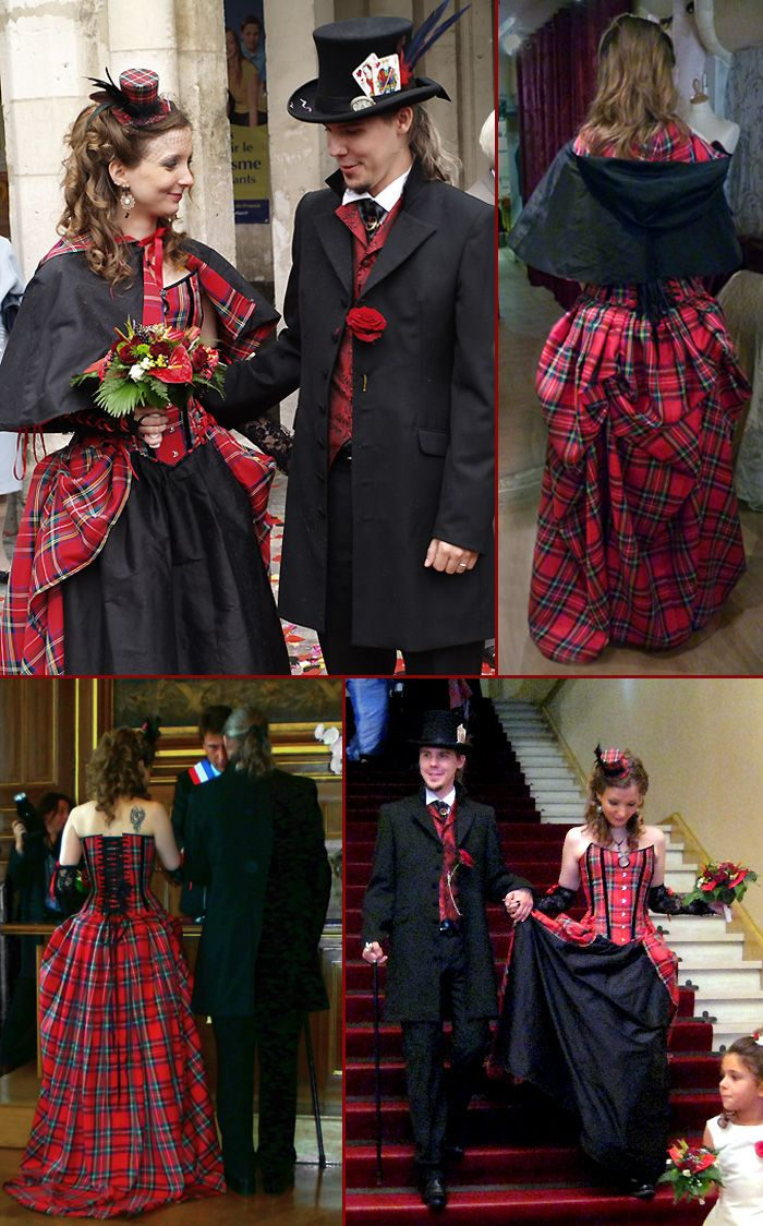 robe de mariee originale baroque rouge noir tartan ecossais burton corset victorien volute. Black Bedroom Furniture Sets. Home Design Ideas