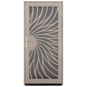 Unique Home Designs Solstice 36 in. x 80 in. Tan Outswing Security Door with Insect Screen and Satin Nickel Hardware