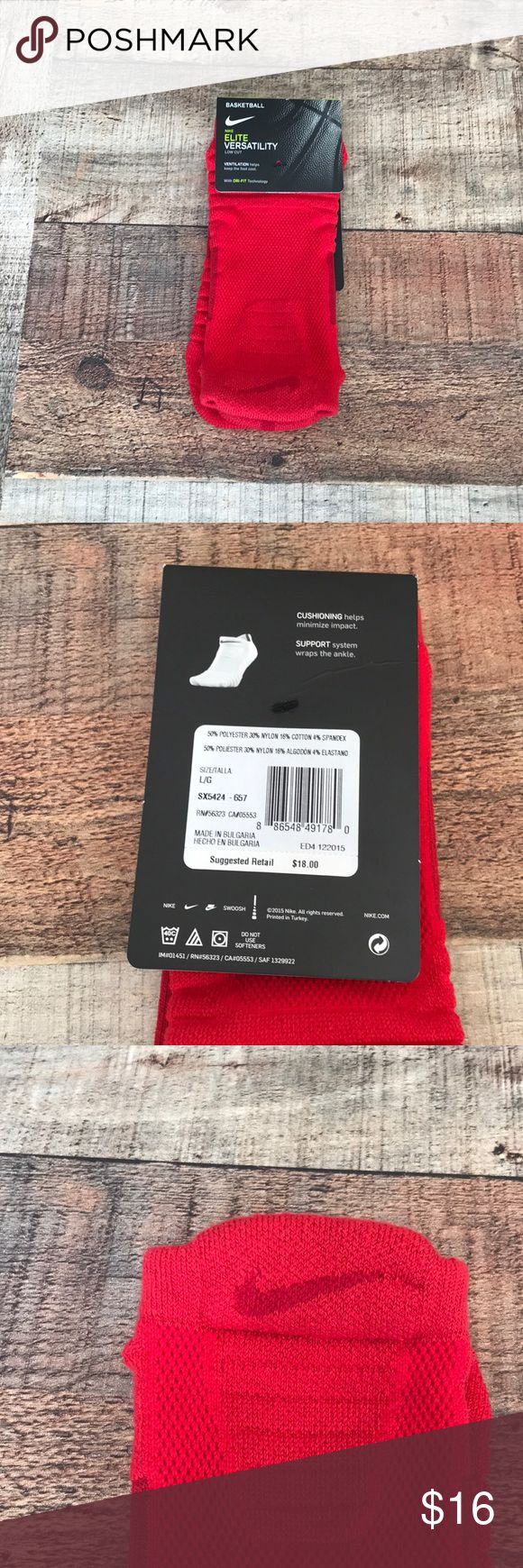 Nike ELITE VERSATILITY Low Cut Ankle Socks Men sizes 8-12 or women sizes 10-13 Ventilation Dri-fit technology  Cushioning  Support Nike Underwear & Socks Athletic Socks