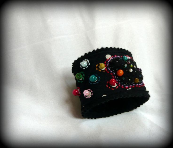 Handmade by Judy Majoros - Beaded -polka dots-fabric bracelet -cuff, Recycled bracelet