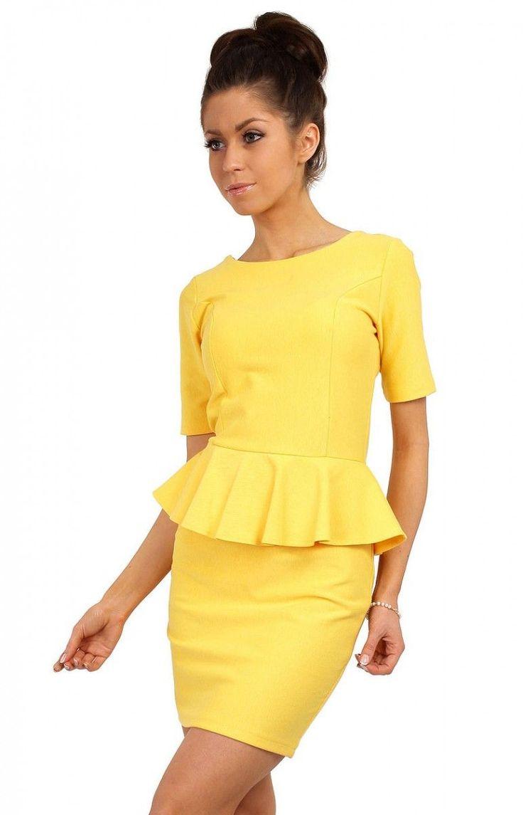 Sukienka MOE014 Moe koloru żółtego