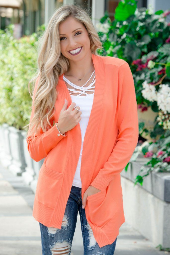Good Vibes Coral Cardigan Shop Simply Me Boutique SHop SMB – Simply Me Boutique