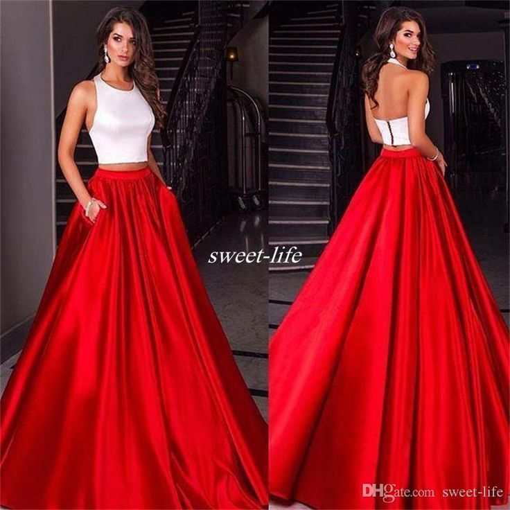 White And Red Prom Dresses Ball Gown Two Piece with Pockets Satin Jewel Neck Backless 2016 Miss Universe Pageant Dresses Long Evening Gowns Online with $102.01/Piece on Sweet-life's Store | DHgate.com